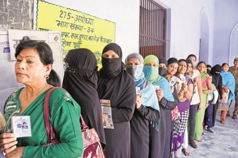 The fifth phase of polling in the UP assembly election on Monday saw a turnout of 57.36%, a figure that's likely to increase when the final tally is in. A total of 51 constituencies including the key Terai region, eastern UP and the Congress bastion of Amethi went to the polls. Photo: PTI