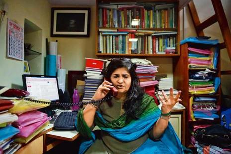 Teesta Setalvad at her office in Mumbai. Photo: AP