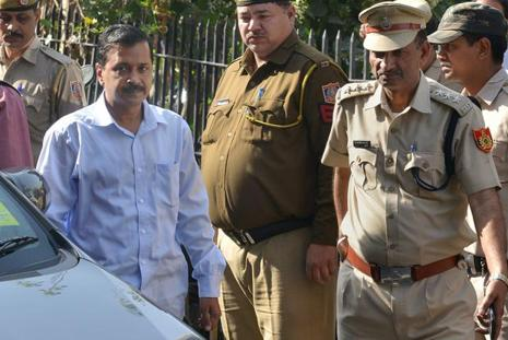 A file photo of Delhi chief minister Arvind Kejriwal arriving at Tis Hazari Court in New Delhi. Photo: PTI