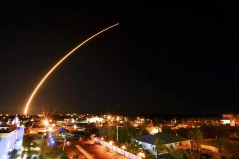 A SpaceX Falcon 9 rocket launches from Kennedy Space Centre, over Cocoa Beach and Cape Canaveral skyline in Florida on Thursday, 16 March 2017. AP