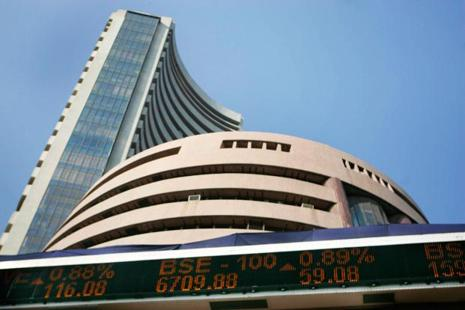 BSE Sensex is trading lower on Monday. Photo: AFP