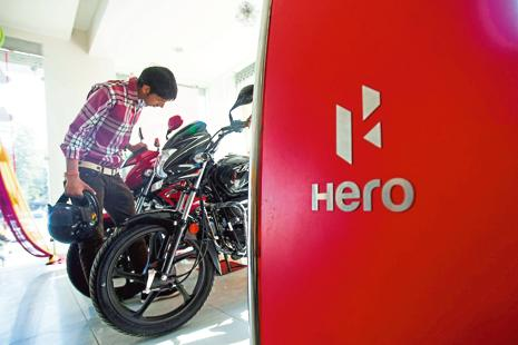 Shares of Hero MotoCorp on Monday closed at Rs3,360 on the NSE, down 0.45% from previous close. Photo: Bloomberg