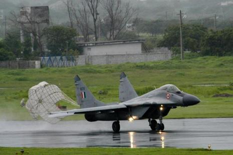 A file photo of IAF's MiG-29 fighter aircraft at an air show in Jamnager, Gujarat in August 2003. Photo: AP