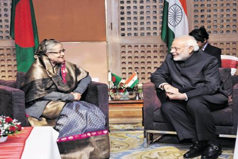 Prime Minister Narendra Modi and Bangladesh's Sheikh Hasina. Hasina's India visit in April is aimed at strengthening bilateral ties. Photo: PTI
