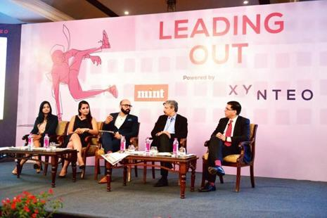 (From left) Vibha Jindal, delivery partner at Tata Consultancy Services; Ishita Anand, founder and CEO of BitGiving; Raheel Khursheed, head (news partnerships) at Twitter India/South Asia; Mint's Sundeep Khanna; and Sanjiv Mehta, CEO and managing director (South Asia) at Hindustan Unilever, in New Delhi on Tuesday. Photograph by Pradeep Gaur/Mint