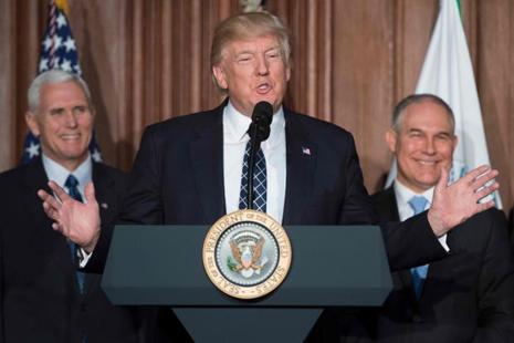 The wide-ranging order is the boldest yet in Donald Trump's broader push to cut environmental regulation to revive the drilling and mining industries, a promise he made repeatedly during the 2016 presidential campaign. Photo: AFP
