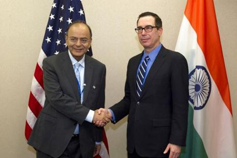 Finance minister Arun Jaitley shakes hands with American counterpart Steven Mnuchin in Washington on Saturday. During his US visit, Jaitley raised the H-1B visa issue with Mnuchin. Photo: AP