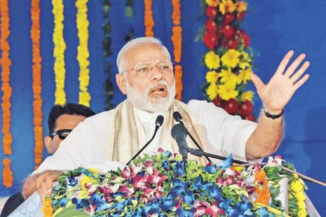 PM Narendra Modi inaugurated the second phase of the SAUNI irrigation scheme at Botad in Saurashtra region of Gujarat last week. Photo: PTI