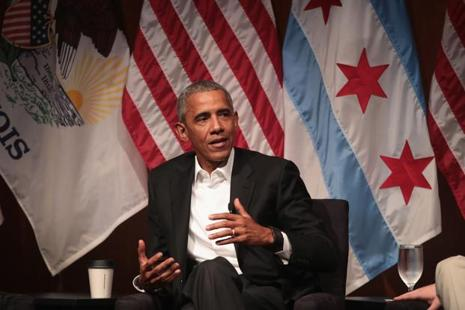 Former US president Barack Obama speaks during a forum at the University of Chicago on Monday. Photo: AFP