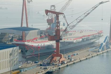 China's first domestically built aircraft carrier is seen during its launching ceremony in Dalian, Liaoning province, China, on Wednesday. Photo: Reuters