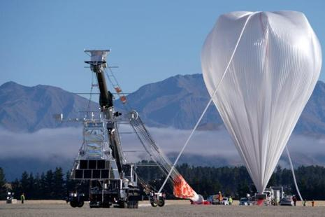 Nasa's super pressure balloon stands fully inflated and ready for lift-off from Wanaka Airport, New Zealand, on Tuesday. Photo: Reuters