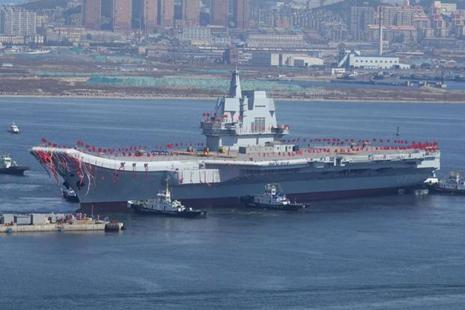 China's first domestically built aircraft carrier is seen during its launching ceremony in Dalian. Photo: Reuters