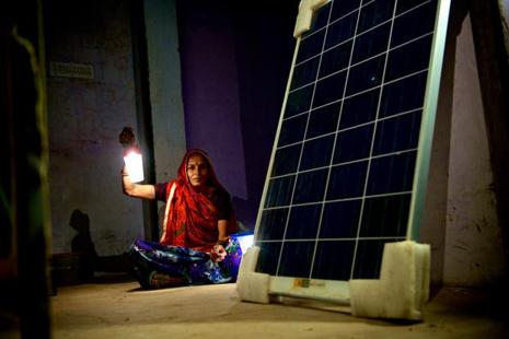 People charging solar lamps in Israwala village in Rajasthan . Photo: Priyanka Parashar/ Mint