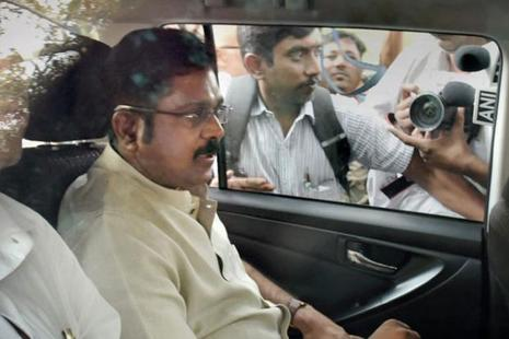 "Sasikala's T.T.V. Dinakaran who was arrested for an alleged attempt to bribe Election Commission officials to get the AIADMK's ""two leaves"" symbol for his AIADMK (Amma) faction, was questioned for the second day in Chennai by the Delhi Crime Branch police. Photo: PTI"