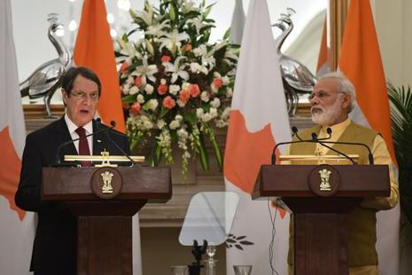Prime Minister Narendra Modi and Cyprus president Nicos Anastasiades hold a press conference in New Delhi on Friday. Photo: AFP