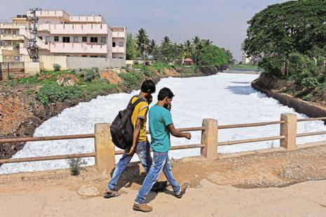 Local civic bodies in Bengaluru have served closure notices to industries located around Bellandur lake for releasing industrial effluents into the water body. Photo: AFP