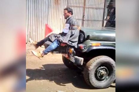 A video showing a man tied to an army jeep during polling in the Srinagar Lok Sabha by-election on 9 April had triggered public outcry, prompting the Army to institute a probe. Photo: Youtube video screenshot