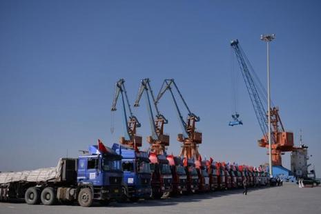 Chinese trucks at Gwadar port, located 700km from Karachi. Pakistan's high growth rate comes amid a $50-billion Chinese investment plan. Photo: AFP