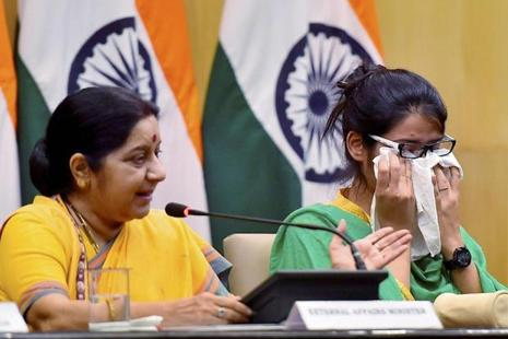 External affairs minister Sushma Swaraj and Uzma Ahmed at Jawahar Bhawan in New Delhi on Thursday after the latter's return from Pakistan. Photo: Kamal Singh/PTI