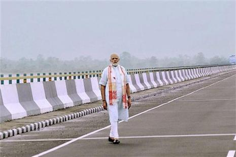Prime Minister Narendra Modi at the newly inaugurated Dhola-Sadia bridge, the country's longest river bridge, in Assam on Friday. Photo: PTI