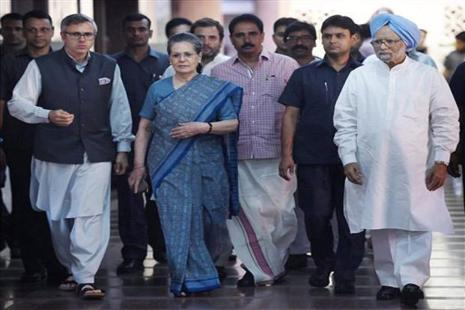 Former prime minister Manmohan Singh with Congress president Sonia Gandhi, party vice-president Rahul Gandhi and former Jammu and Kashmir chief minister and president, National Conference, Omar Abdullah, after a meeting to discuss the strategy for the coming Presidential elections, in New Delhi on Friday. PTI Photo by Subhav Shukla
