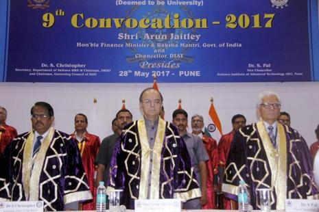 Defence minister Arun Jaitley with vice-chancellor, DIAT, Surendra Pal during the 9th convocation of Defence Institute of Advanced Technology, Pune on Sunday. Photo: PTI
