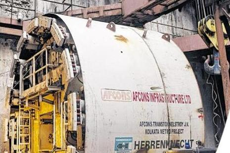The 520-metre underwater tunnel will connect the twin cities of Howrah and Kolkata located on either side of the Hooghly. Photo: HT