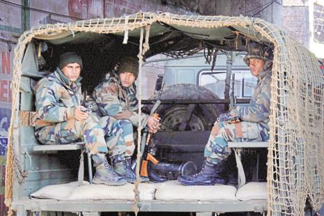 A file photo. In 2015, three heavily-armed terrorists wearing Army fatigues, had hijacked a car and stormed a police station in Dinanagar town of Gurdaspur district. Photo: PTI