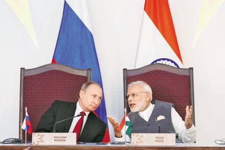 A file photo of Russian President Vladimir Putin and India's Prime Minister Narendra Modi. Photo: Reuters
