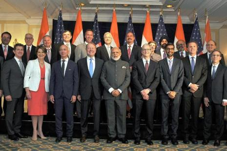 PM Narendra Modi with US CEOs at a meeting in Washington DC on Sunday. Photo: PTI