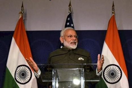 Prime Minister Narendra Modi addresses at the United States Community Reception in Washington DC on Sunday. Photo: PTI