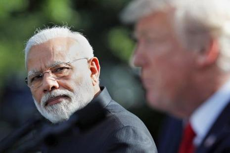 PM Narendra Modi during the joint statement with US President Donald Trump in the Rose Garden at the White House on Monday. Photo: AP