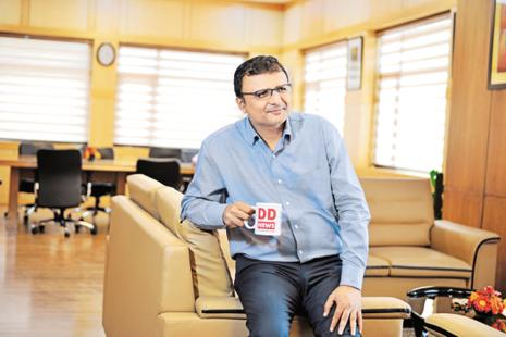 Prasar Bharati CEO Shashi Shekhar Vempati. Prasar Bharati is an autonomous body set up by an act of Parliament and runs Doordarshan and All India Radio. Photo: Priyanka Parashar/Mint