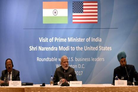 Prime Minister, Narendra Modi in a round table meeting with the US Business Leaders at Washington DC, USA. NSA Ajit Doval and Navtej Sarna, Indian Ambassador to USA are also seen. Photo: PTI
