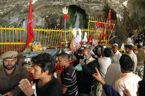 The Amarnath shrine is situated in a narrow gorge at the farther end of Lidder Valley at 3,888 metres, 46km from Pahalgam and 14km from Baltal. Photo: AFP