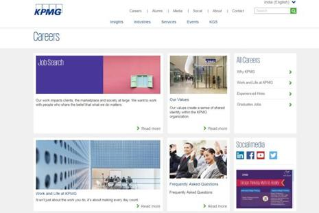 A screen grab of KPMG India website