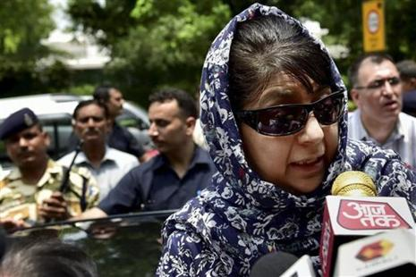 Mehbooba Mufti asked Farooq Abdullah whether he wanted the situation in Kashmir to be similar to what it was in countries like Syria, Afghanistan and Iraq where the US had intervened.  Photo: PTI