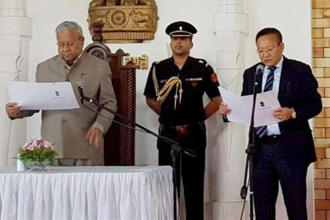 A file photo of Nagaland chief minister T.R. Zeliang being sworn-in as the new chief minister by governor P.B. Acharya on 19 July. Photo: PTI