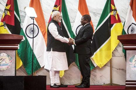 Prime Minister Narendra Modi (left) with Mozambique's President Filipe Nyusi during his four-nation tour of Africa in July 2016. Photo: AFP