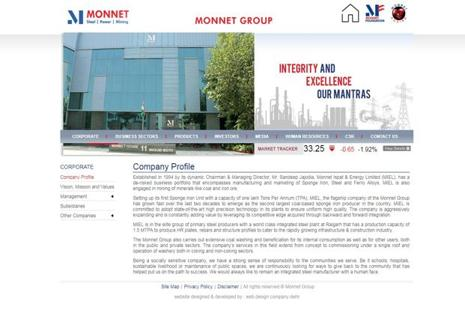 A screen grab of Monnet Ispat  website