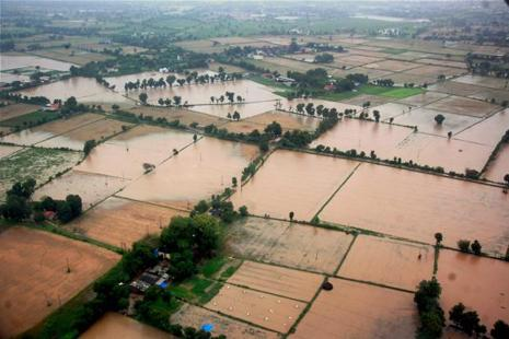 An aerial view of flood-hit Totana village in Banskantha district, Gujarat, on Tuesday. Photo: PTI