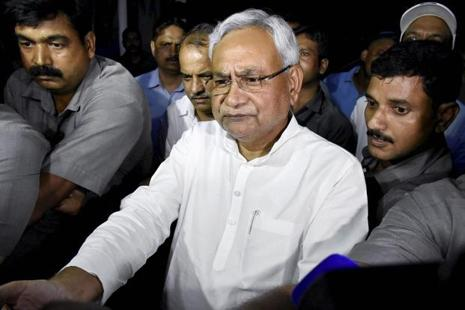 Nitish Kumar speaking to the media after meeting governor K.N. Tripathi in Patna on Wednesday. Kumar says he has resigned as Bihar chief minister and the governor has accepted his resignation letter. Photo: PTI