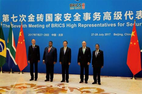 NSA Ajit Doval along with BRICS Security officials calling on Chinese President Xi Jinping in Beijing on Friday. Photo: Reuters