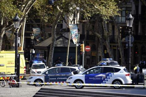 Barcelona police after the van crash in the Rambla in Barcelona on Thursday. Photo: AFP