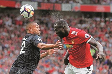 Manchester United's Romelu Lukaku (right) in action with West Ham United's Winston Reid. Lukaku scored twice in United's 4-0 victory on the opening weekend. Photo: Andrew Yates/Reuters