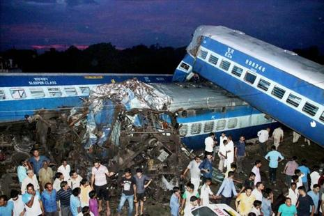 Coaches of the Puri-Haridwar Utkal Express train after it derailed in Khatauli near Muzaffarnagar on Saturday. Photo: PTI