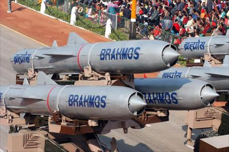 A file photo of Brahmos missiles displayed during the Republic Day celebration Parade at Rajpath in New Delhi in 2006. Photo: Mint