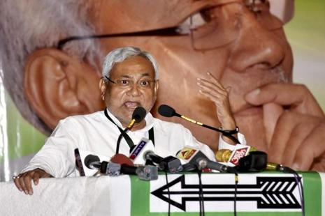Bihar chief minister and JD(U) president Nitish Kumar addressing the party's national executive committee during a meeting in Patna on Saturday. Photo: PTI
