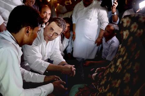 Congress vice-president Rahul Gandhi during his visit to Gorakhpur on Saturday. Photo: PTI