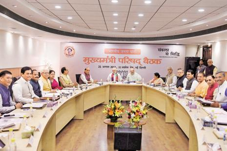 Prime minister Narendra Modi and BJP president Amit Shah at a meeting with chief ministers and deputy chief ministers of BJP-ruled states on Monday. Photo: PTI